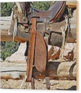 Saddle On Ranch Fence Wood Print