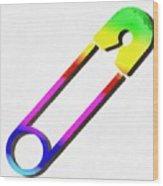 Safety Pin Rainbow Painting Wood Print