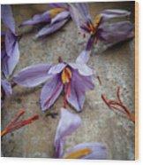 Saffron Flower Wood Print