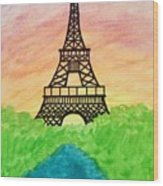 Saffron Sunset Over Eiffel Tower In Paris-watercolour  Wood Print