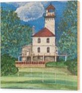 Saginaw River Light Wood Print