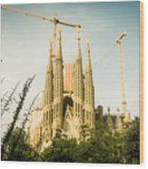 Sagrada Familia With Catalonia's Flag Wood Print