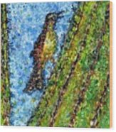 Saguaro Cactus With Woodpecker Wood Print
