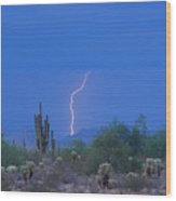 Saguaro Desert Lightning Strike Fine Art  Wood Print