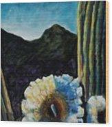 Saguaro In Bloom Wood Print