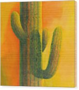 Saguaro In Summer Wood Print