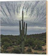 Saguaro Sun Break Clouds Wood Print