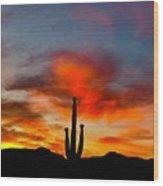 Saguaro Sunrise Wood Print