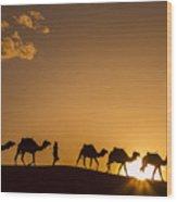 Sahara Desert Sunset Wood Print