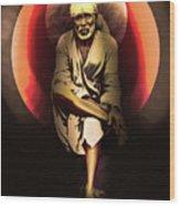 Saibaba On Stone With Sun Wood Print