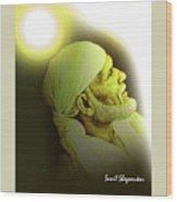 Saibaba Portrait  20 By Sunil Shegaonkar Wood Print