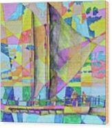 Sail Away Sunset Wood Print