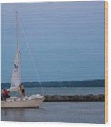 Sail Boat And Moon On Lake Ontario Wood Print
