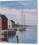 Sail Boat At Rockport Wood Print