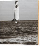 Sail Boat Coming Ashore 2 Wood Print
