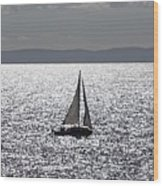 Sail Boat In A Sea Of Diamonds  Wood Print