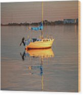 Sail Boat In Roanoke Sound 1x2 Ratio Photo Painting Img_3969 Wood Print