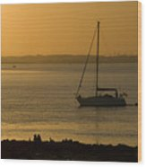 Sail Boat Sunset Wood Print