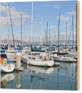 Sail Boats At San Francisco China Basin Pier 42 With The Bay Bridge In The Background . 7d7664 Wood Print by Wingsdomain Art and Photography