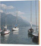 Sail Boats, Lake Como, Italy Wood Print