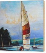 Sail Boats On The Lake Wood Print