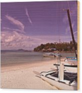 Sail Boats On Tropical Beach Wood Print