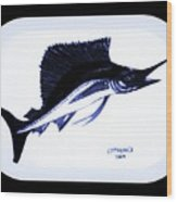 Sail Fish In Black And White Watercolor Wood Print