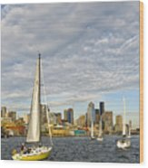 Sail On Seattle Wood Print