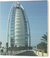 Sail-shaped Silhouette Of Burj Al Arab Jumeirah  Wood Print