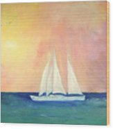 Sailboat - Regatta Of One Wood Print