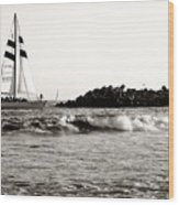 Sailboat And Lighthouse 2 Wood Print