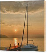 Sailboat And Sunrise Wood Print by Steven Ainsworth