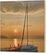 Sailboat And Sunrise Wood Print