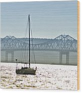 Sailboat And The Tappan Zee Bridge Wood Print