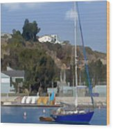Sailboat At Anchor In Harbor Wood Print