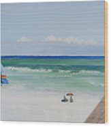 Sailboat At Blue Mountain Beach Wood Print