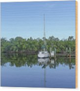 Sailboat At Dock Florida Wood Print