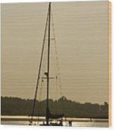Sailboat At Rest Wood Print