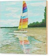 Sailboat Reflection Wood Print