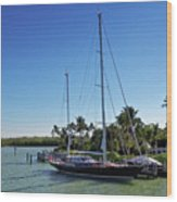 Sailboat At Royal Harbor Wood Print