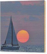 Sailboat At Sunset  Wood Print