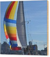 Sailboat In Seattle Wood Print