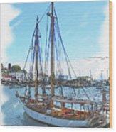 Sailboat Docked In Camden Wood Print