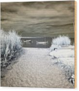 Sailboat Entry Infrared Brown Wood Print by John Rizzuto