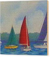 Sailboat Fiesta II Wood Print