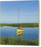 Sailboat In Cape Cod Bay Wood Print