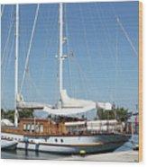 Sailboat In Harbor Summer Vacation Scene Wood Print