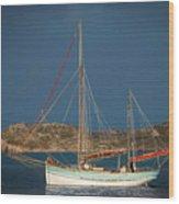 Sailboat In Iona Bay Wood Print