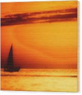 Sailboat In Orange Wood Print