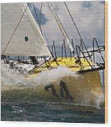 Sailboat Le Pingouin Open 60 Charging  Wood Print